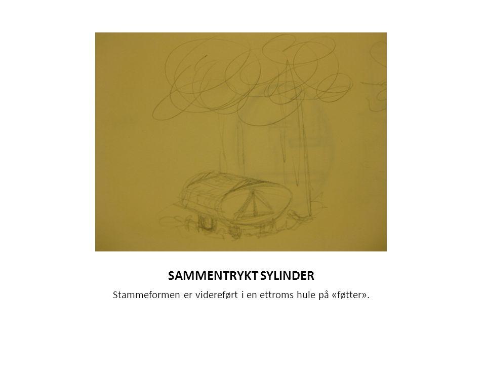 SAMMENTRYKT SYLINDER Stammeformen er videreført i en ettroms hule på «føtter».