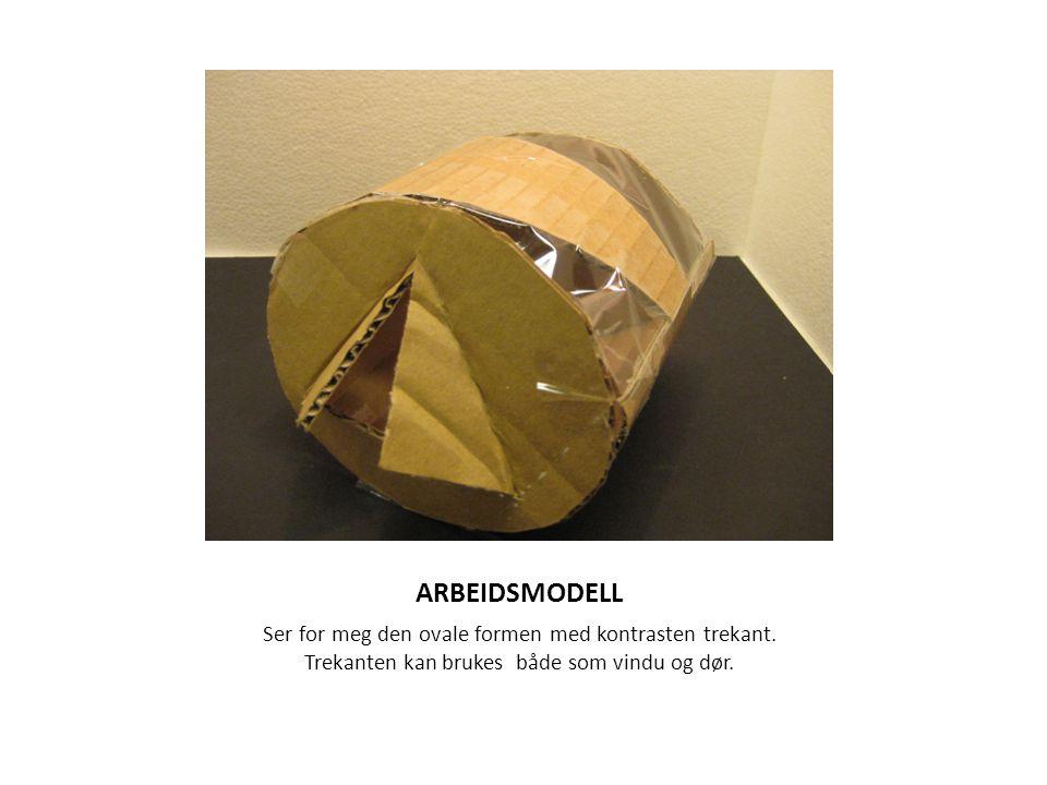 ARBEIDSMODELL Ser for meg den ovale formen med kontrasten trekant. Trekanten kan brukes både som vindu og dør.