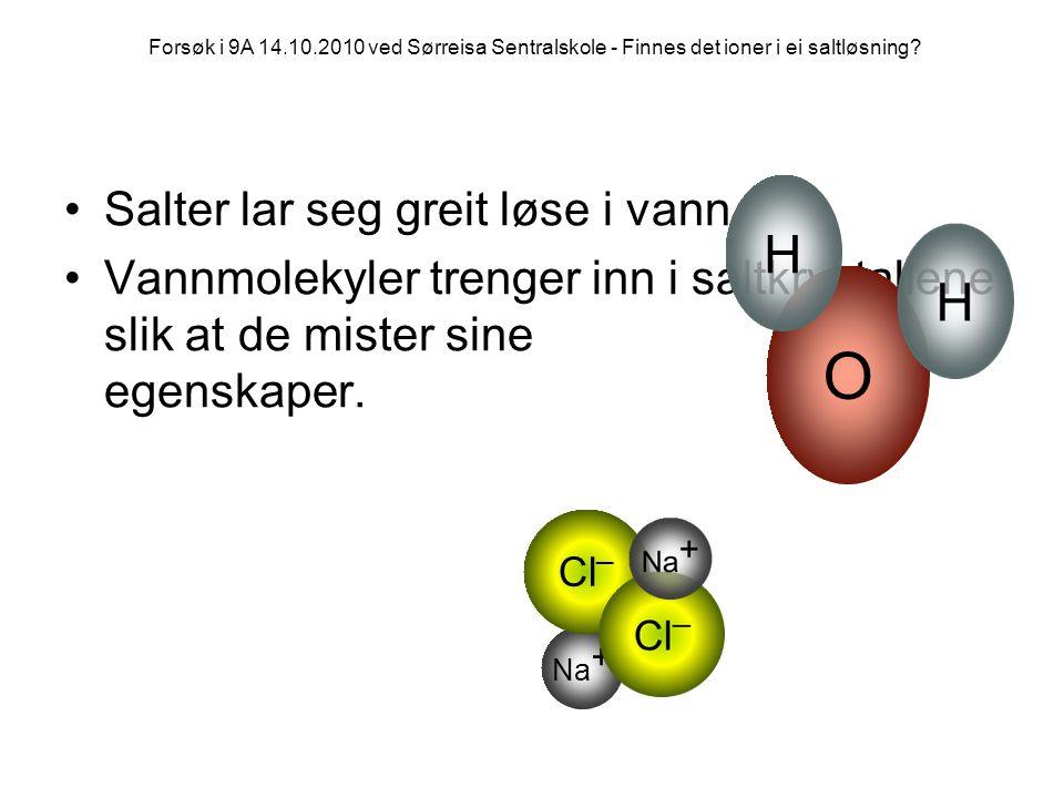 •Salter lar seg greit løse i vann. •Vannmolekyler trenger inn i saltkrystallene slik at de mister sine egenskaper. Na + Cl _ O H Forsøk i 9A 14.10.201