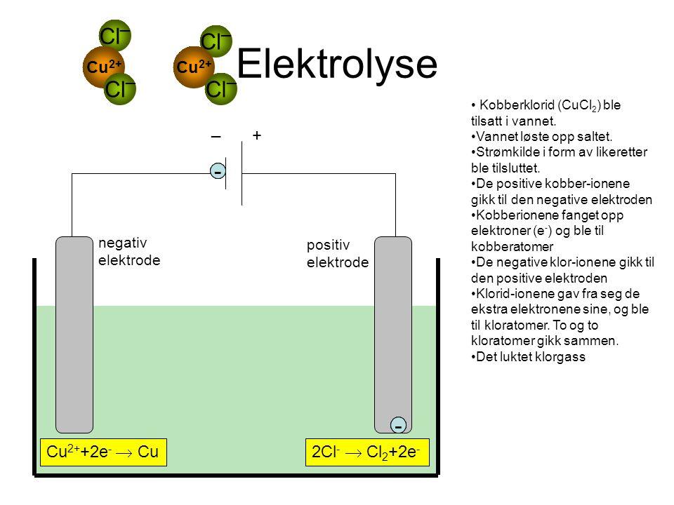 Elektrolyse negativ elektrode positiv elektrode + _ • Kobberklorid (CuCl 2 ) ble tilsatt i vannet. •Vannet løste opp saltet. •Strømkilde i form av lik