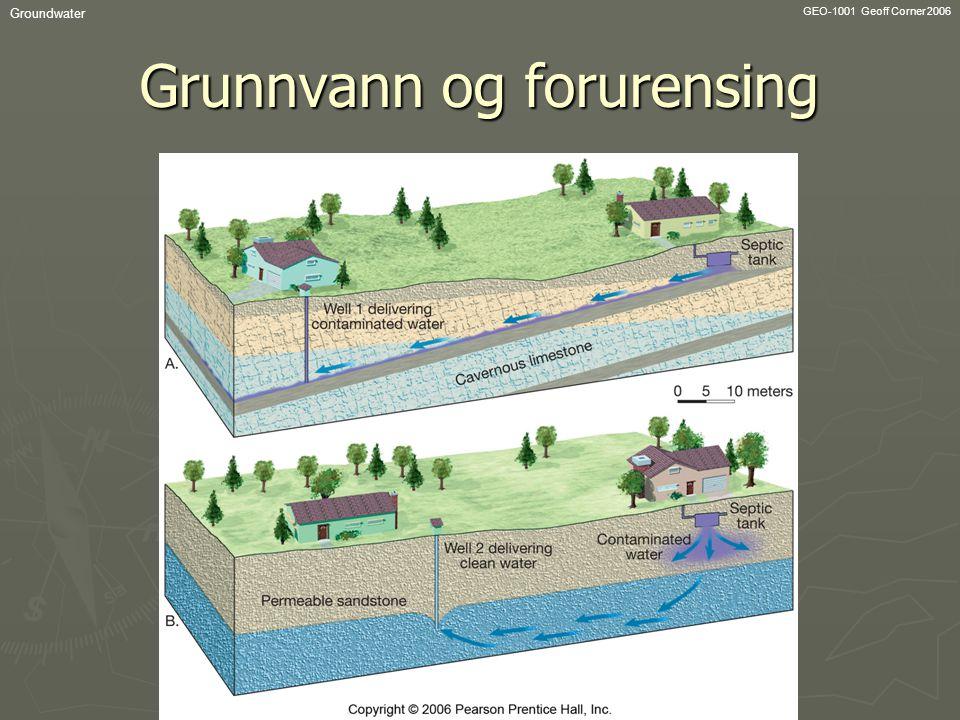 GEO-1001 Geoff Corner 2006 Groundwater Grunnvann og forurensing