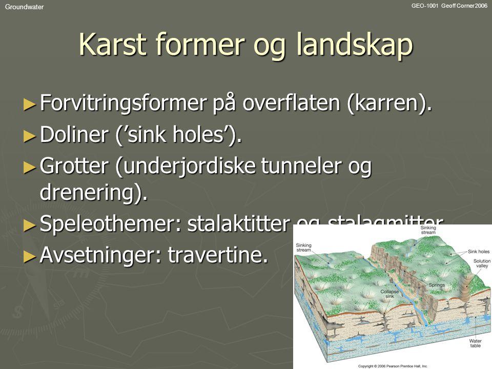 GEO-1001 Geoff Corner 2006 Groundwater Karst former og landskap ► Forvitringsformer på overflaten (karren). ► Doliner ('sink holes'). ► Grotter (under