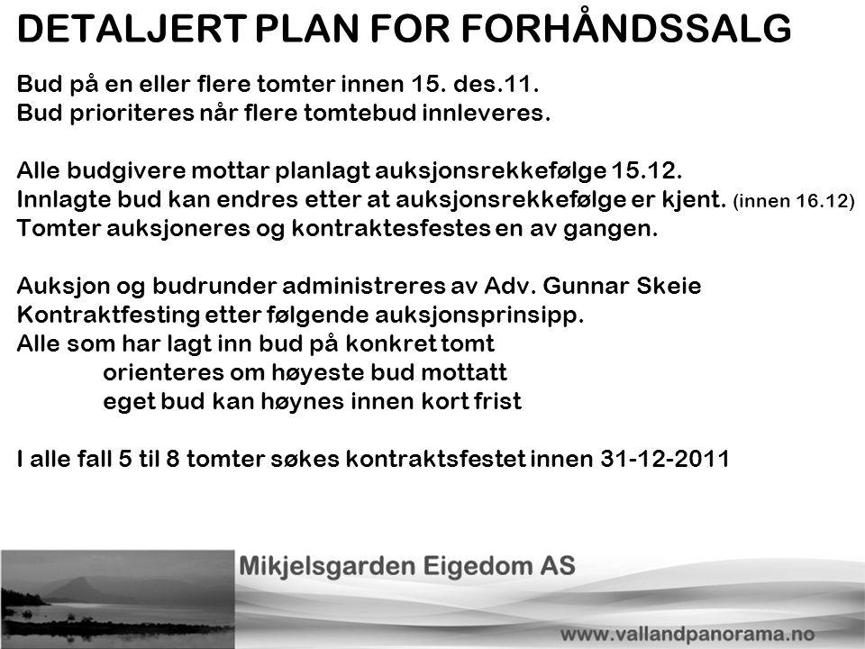 DETALJERT PLAN FOR FORHÅNDSSALG Bud på en eller flere tomter innen 15. des.11. Bud prioriteres når flere tomtebud innleveres. Alle budgivere mottar pl