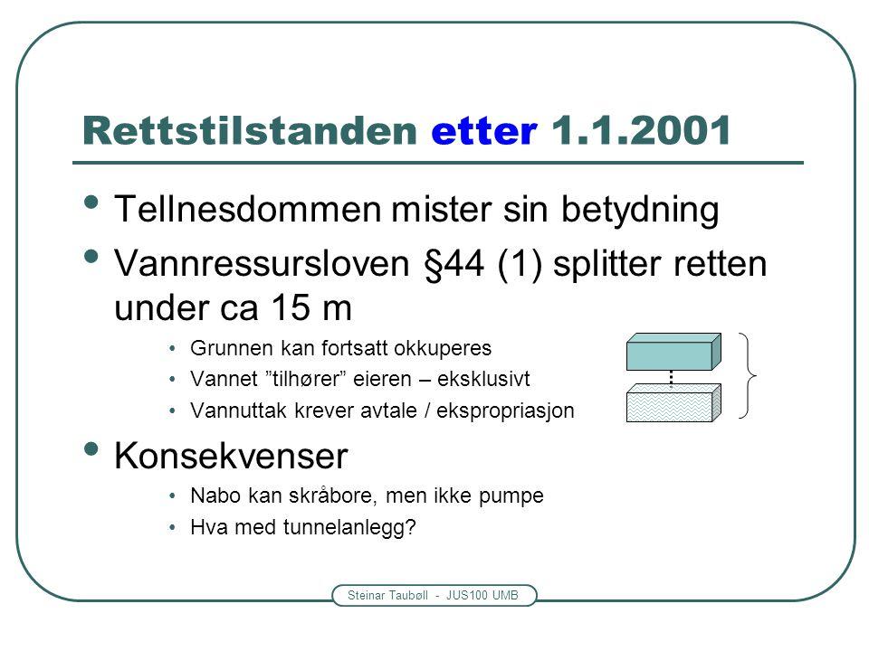 Steinar Taubøll - JUS100 UMB Rettstilstanden etter 1.1.2001 • Tellnesdommen mister sin betydning • Vannressursloven §44 (1) splitter retten under ca 15 m •Grunnen kan fortsatt okkuperes •Vannet tilhører eieren – eksklusivt •Vannuttak krever avtale / ekspropriasjon • Konsekvenser •Nabo kan skråbore, men ikke pumpe •Hva med tunnelanlegg