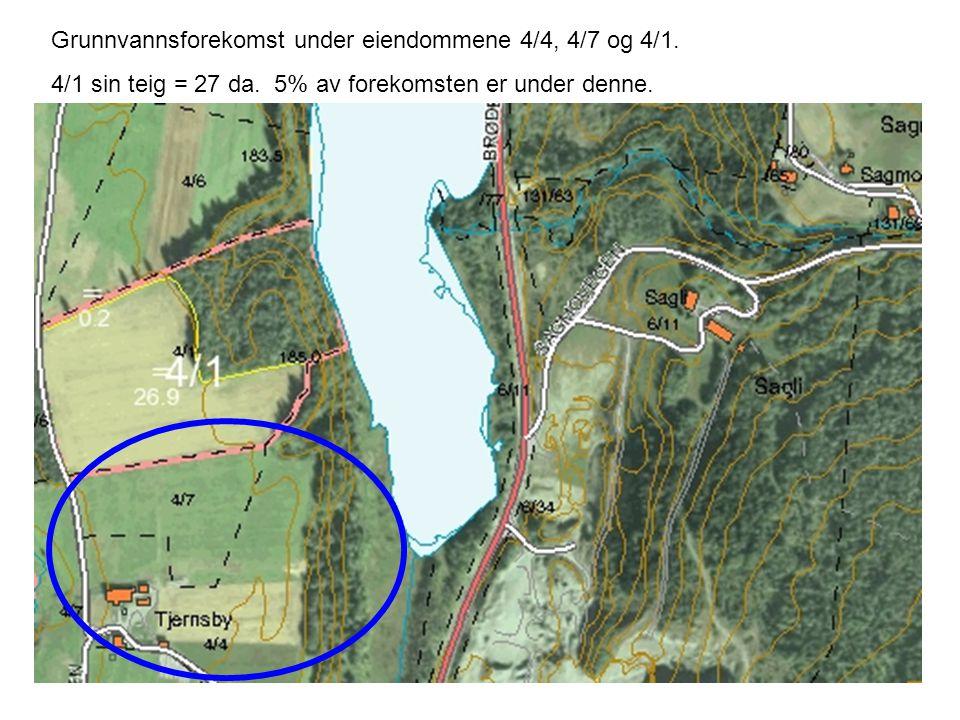 Grunnvannsforekomst under eiendommene 4/4, 4/7 og 4/1. 4/1 sin teig = 27 da. 5% av forekomsten er under denne.
