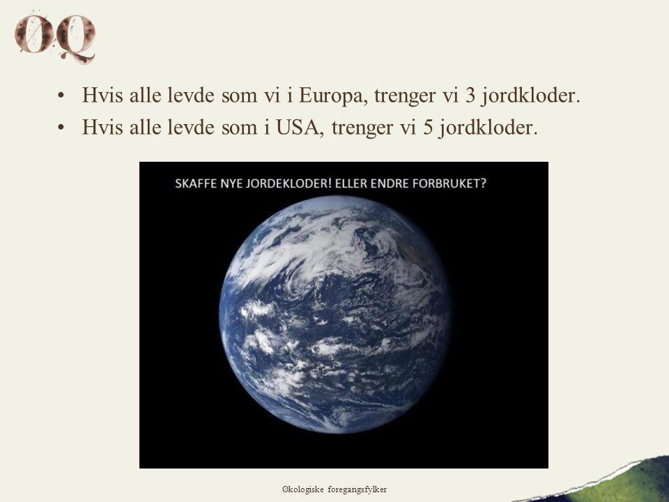 •Hvis alle levde som vi i Europa, trenger vi 3 jordkloder.