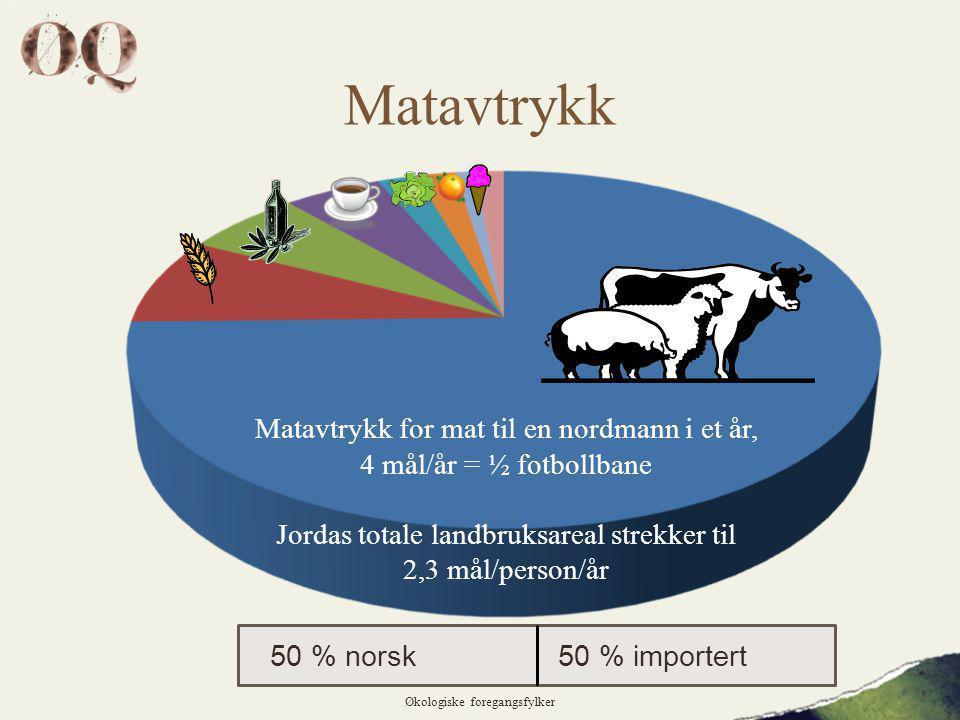 Matavtrykk Økologiske foregangsfylker Matavtrykk for mat til en nordmann i et år, 4 mål/år = ½ fotbollbane Jordas totale landbruksareal strekker til 2,3 mål/person/år 50 % norsk50 % importert