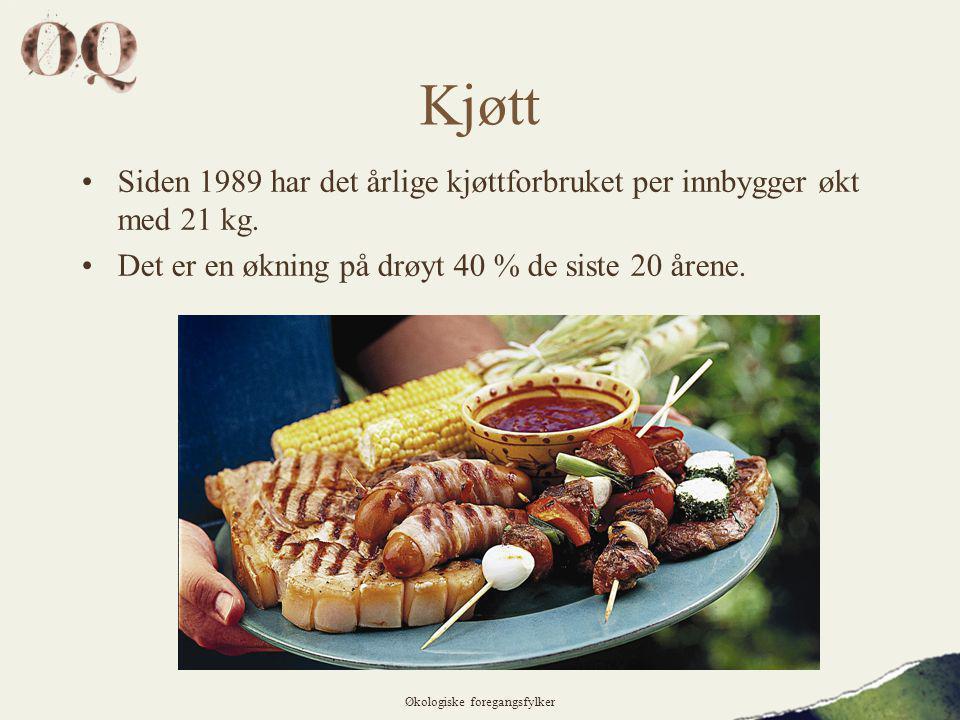 Kjøtt •Siden 1989 har det årlige kjøttforbruket per innbygger økt med 21 kg.