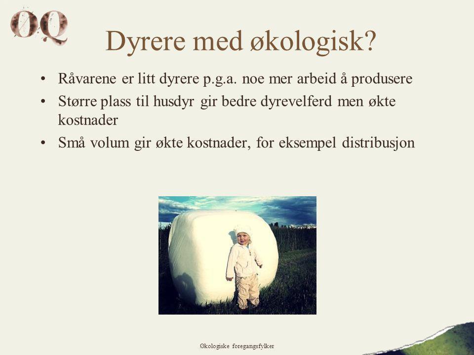 Dyrere med økologisk.•Råvarene er litt dyrere p.g.a.