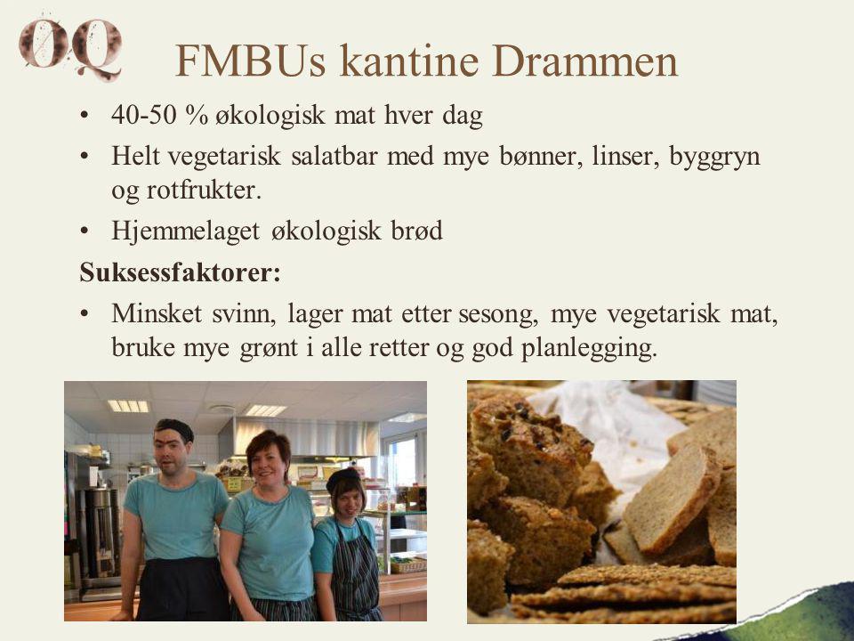 FMBUs kantine Drammen •40-50 % økologisk mat hver dag •Helt vegetarisk salatbar med mye bønner, linser, byggryn og rotfrukter.