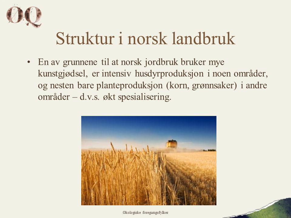 Struktur i norsk landbruk •En av grunnene til at norsk jordbruk bruker mye kunstgjødsel, er intensiv husdyrproduksjon i noen områder, og nesten bare planteproduksjon (korn, grønnsaker) i andre områder – d.v.s.