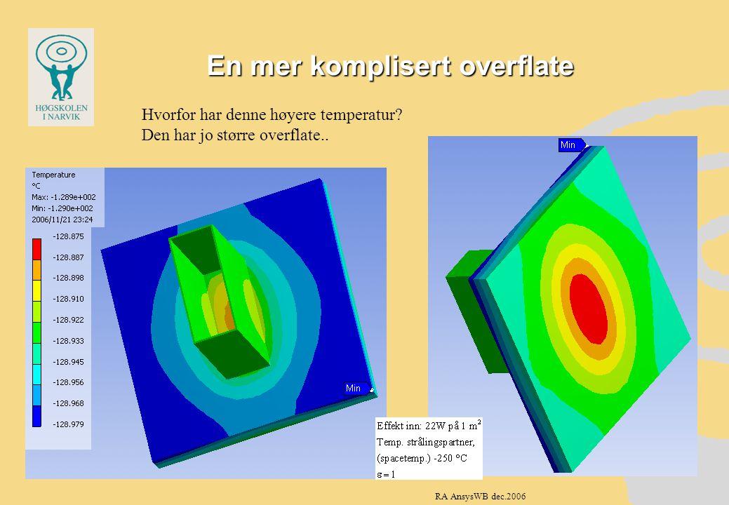 En mer komplisert overflate Hvorfor har denne høyere temperatur? Den har jo større overflate.. RA AnsysWB dec.2006