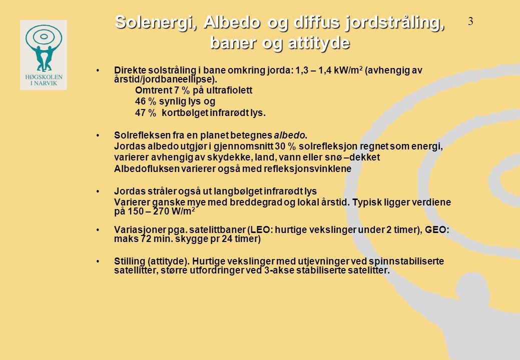 Solenergi, Albedo og diffus jordstråling, baner og attityde •Direkte solstråling i bane omkring jorda: 1,3 – 1,4 kW/m 2 (avhengig av årstid/jordbaneel
