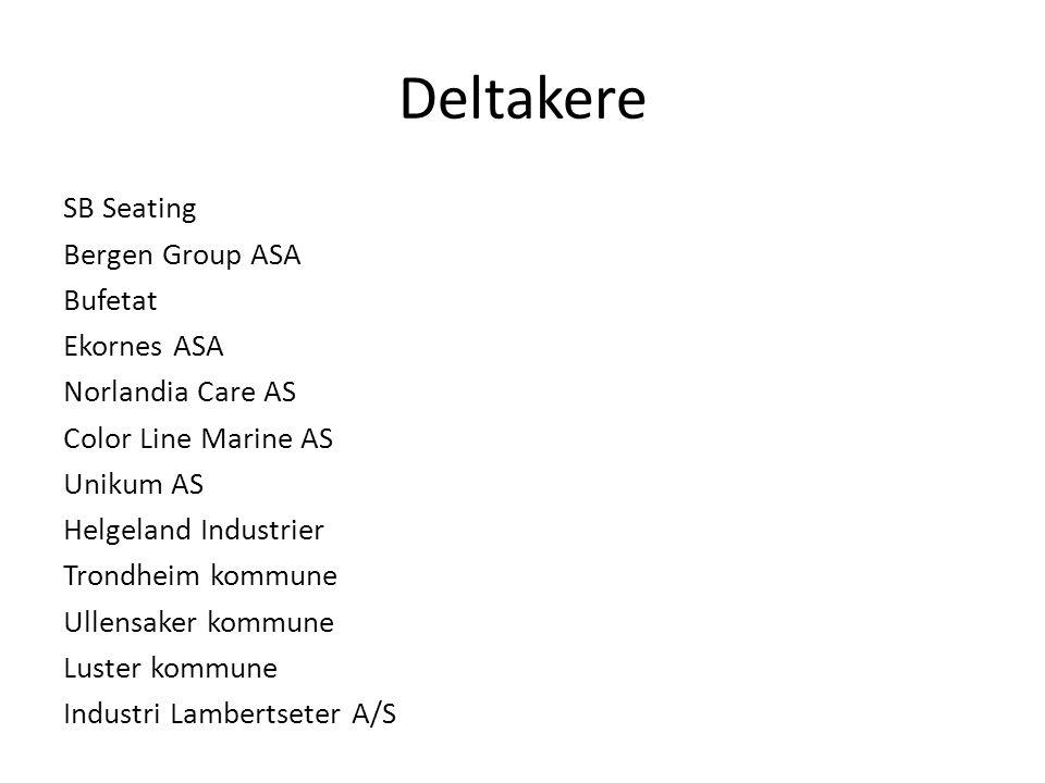 Deltakere SB Seating Bergen Group ASA Bufetat Ekornes ASA Norlandia Care AS Color Line Marine AS Unikum AS Helgeland Industrier Trondheim kommune Ulle
