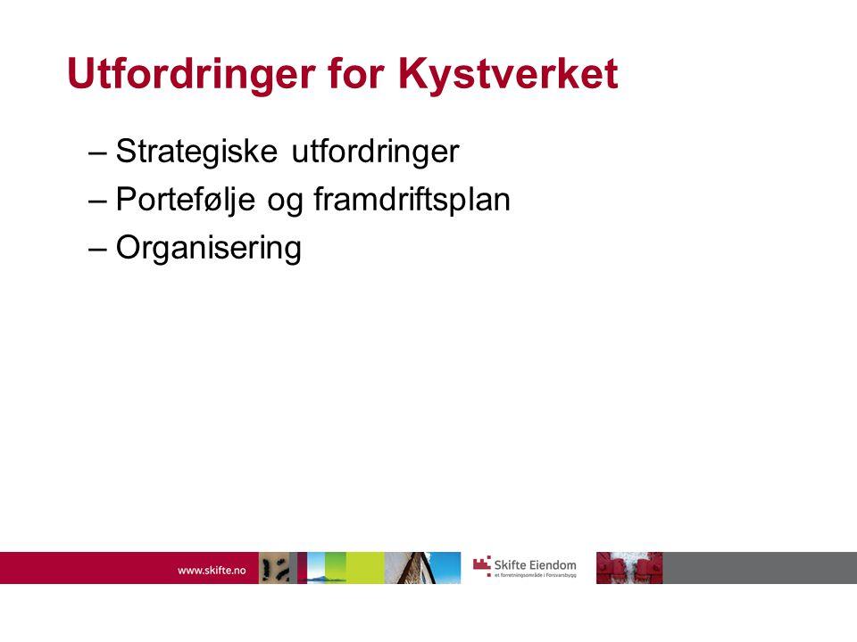 Utfordringer for Kystverket –Strategiske utfordringer –Portefølje og framdriftsplan –Organisering