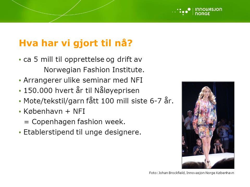 Hva har vi gjort til nå? • ca 5 mill til opprettelse og drift av Norwegian Fashion Institute. • Arrangerer ulike seminar med NFI • 150.000 hvert år ti