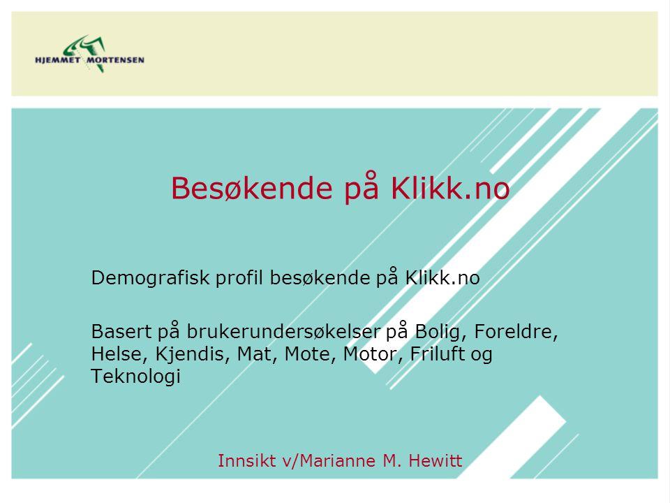 Majoriteten av de besøkende på Klikk er kvinner 7 av 10 av de besøkende på Klikk er under 40 år Kilde: brukerundersøkelser på Klikk (Base: 1.658) Bolig, Foreldre, Helse, Mat, Kjendis, Motor, Friluft, Teknologi, Mote Kilde befolkningen: Synovate Norsk Målgruppeindeks 2008.1 Kilde: brukerundersøkelser på Klikk (Base: 1.556) Bolig, Foreldre, Helse, Mat, Kjendis, Motor, Friluft, Teknologi, Mote Kilde befolkningen: Synovate Norsk Målgruppeindeks 2008.1