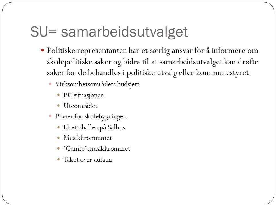 SU= samarbeidsutvalget  Politiske representanten har et særlig ansvar for å informere om skolepolitiske saker og bidra til at samarbeidsutvalget kan