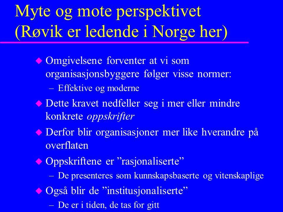 Myte og mote perspektivet (Røvik er ledende i Norge her) u Omgivelsene forventer at vi som organisasjonsbyggere følger visse normer: –Effektive og mod