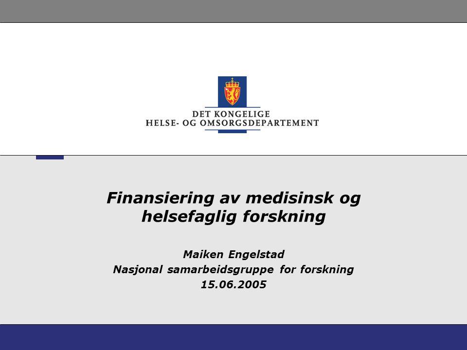 Finansiering av medisinsk og helsefaglig forskning Maiken Engelstad Nasjonal samarbeidsgruppe for forskning 15.06.2005