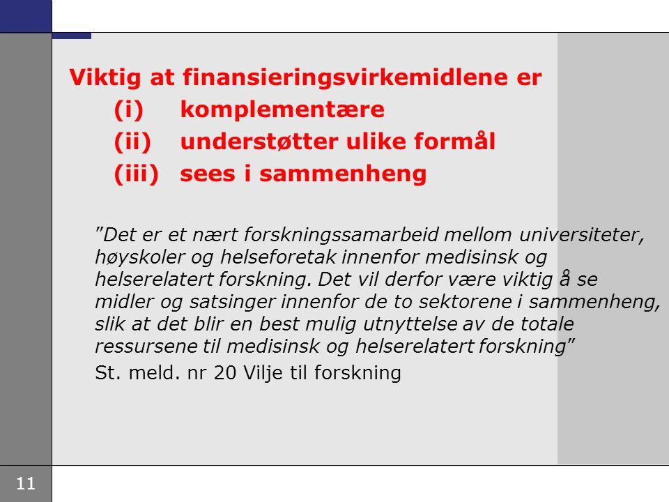 """11 Viktig at finansieringsvirkemidlene er (i) komplementære (ii) understøtter ulike formål (iii) sees i sammenheng """"Det er et nært forskningssamarbeid"""