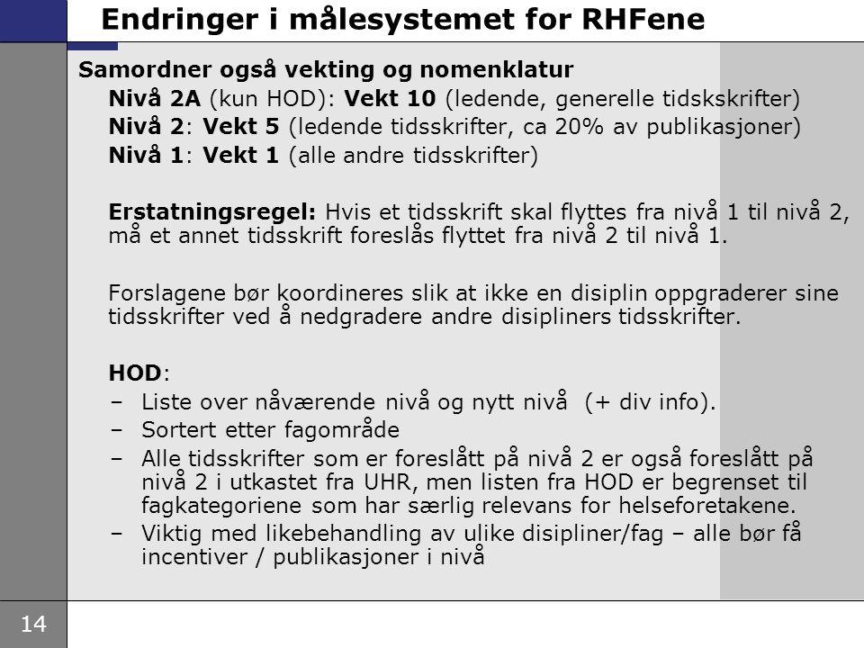 14 Endringer i målesystemet for RHFene Samordner også vekting og nomenklatur Nivå 2A (kun HOD): Vekt 10 (ledende, generelle tidskskrifter) Nivå 2: Vek
