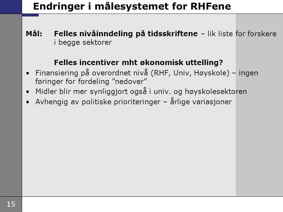 15 Endringer i målesystemet for RHFene Mål: Felles nivåinndeling på tidsskriftene – lik liste for forskere i begge sektorer Felles incentiver mht økon