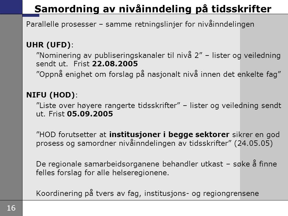 """16 Samordning av nivåinndeling på tidsskrifter Parallelle prosesser – samme retningslinjer for nivåinndelingen UHR (UFD): """"Nominering av publiseringsk"""