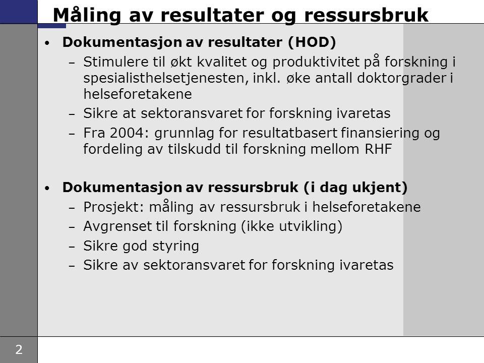 2 Måling av resultater og ressursbruk • Dokumentasjon av resultater (HOD) – Stimulere til økt kvalitet og produktivitet på forskning i spesialisthelse