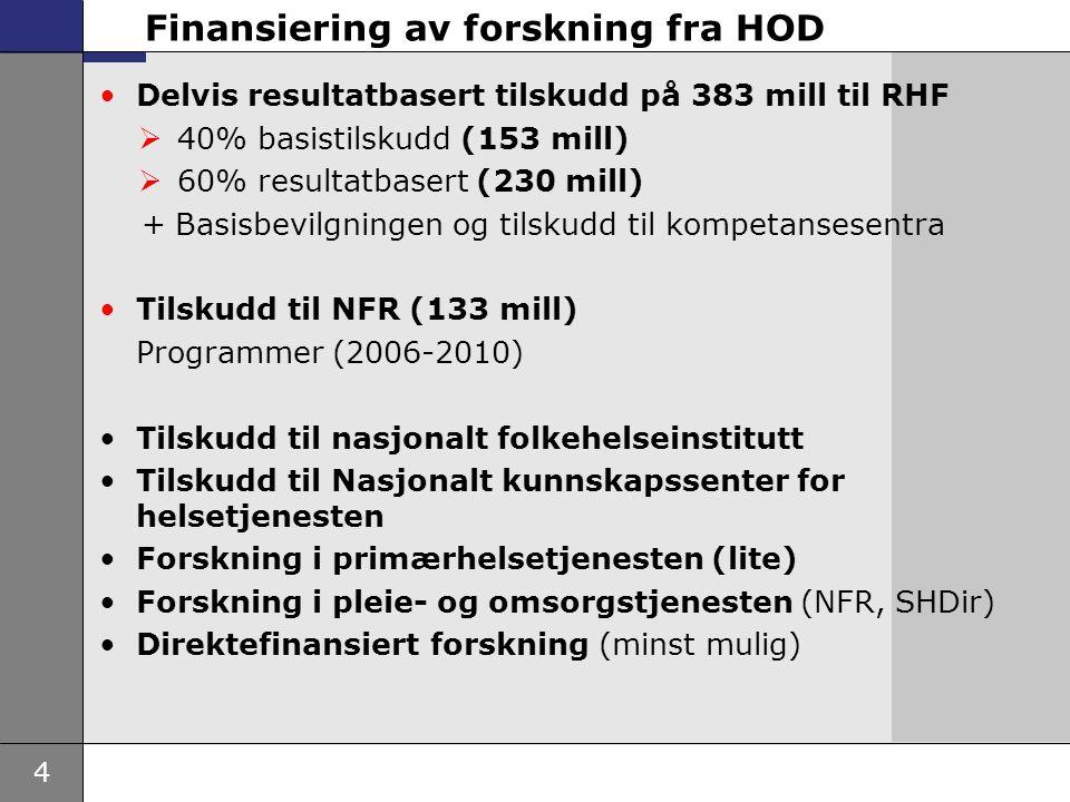 4 Finansiering av forskning fra HOD •Delvis resultatbasert tilskudd på 383 mill til RHF  40% basistilskudd (153 mill)  60% resultatbasert (230 mill)