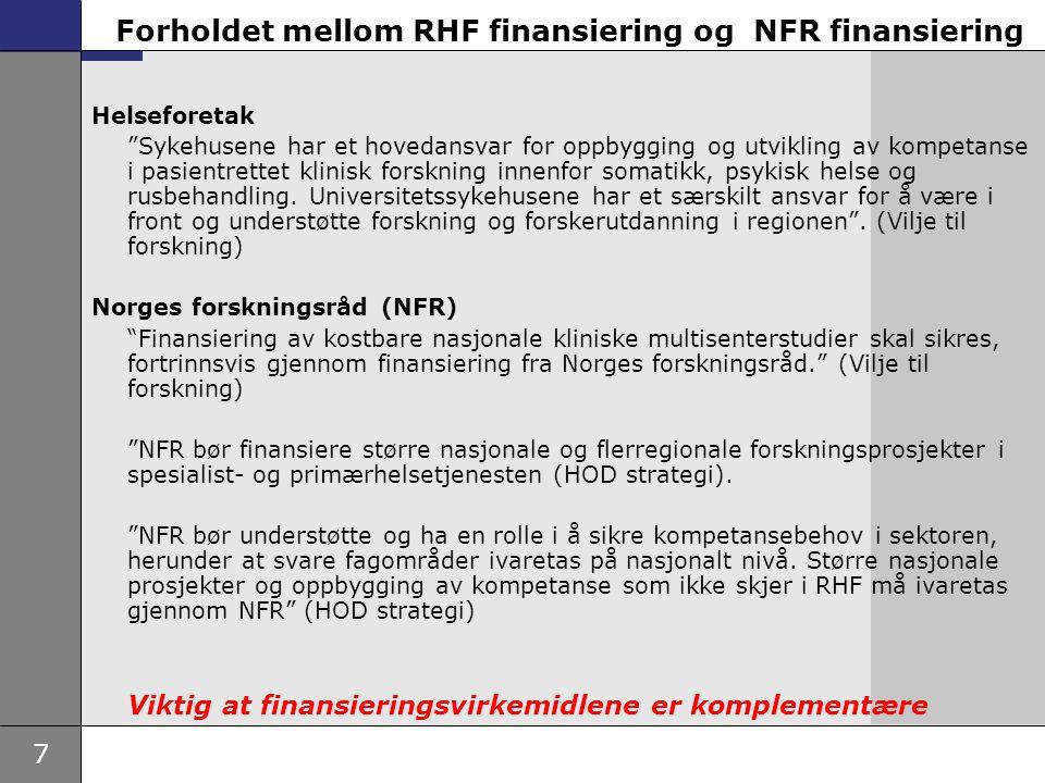 """7 Forholdet mellom RHF finansiering og NFR finansiering Helseforetak """"Sykehusene har et hovedansvar for oppbygging og utvikling av kompetanse i pasien"""