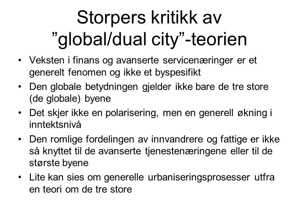 Storpers kritikk av global/dual city -teorien •Veksten i finans og avanserte servicenæringer er et generelt fenomen og ikke et byspesifikt •Den globale betydningen gjelder ikke bare de tre store (de globale) byene •Det skjer ikke en polarisering, men en generell økning i inntektsnivå •Den romlige fordelingen av innvandrere og fattige er ikke så knyttet til de avanserte tjenestenæringene eller til de største byene •Lite kan sies om generelle urbaniseringsprosesser utfra en teori om de tre store
