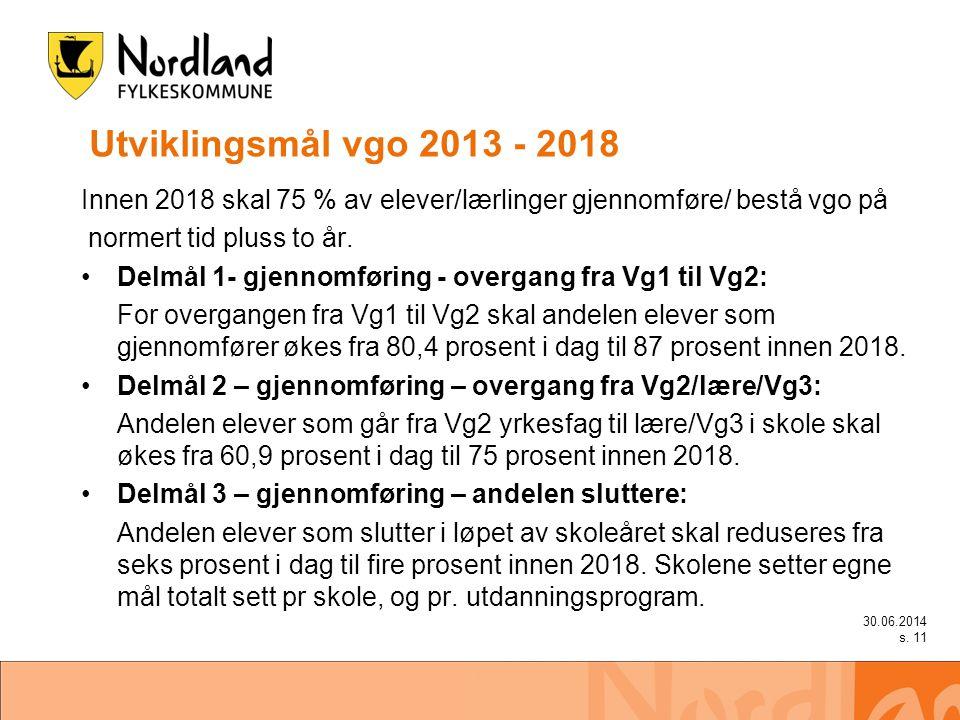 Utviklingsmål vgo 2013 - 2018 Innen 2018 skal 75 % av elever/lærlinger gjennomføre/ bestå vgo på normert tid pluss to år.