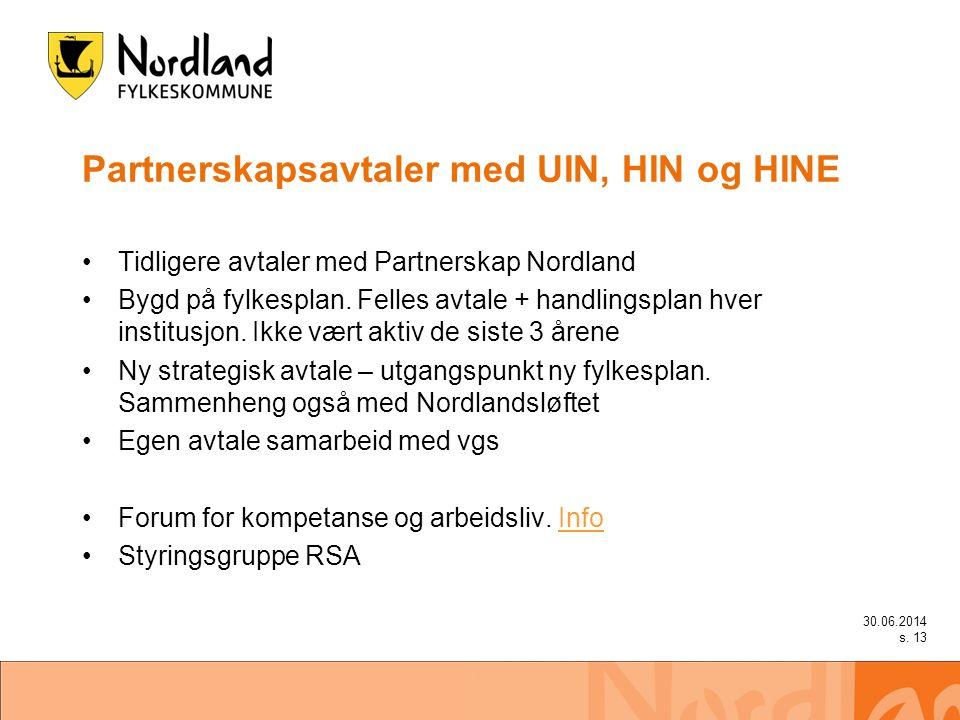 Partnerskapsavtaler med UIN, HIN og HINE •Tidligere avtaler med Partnerskap Nordland •Bygd på fylkesplan.