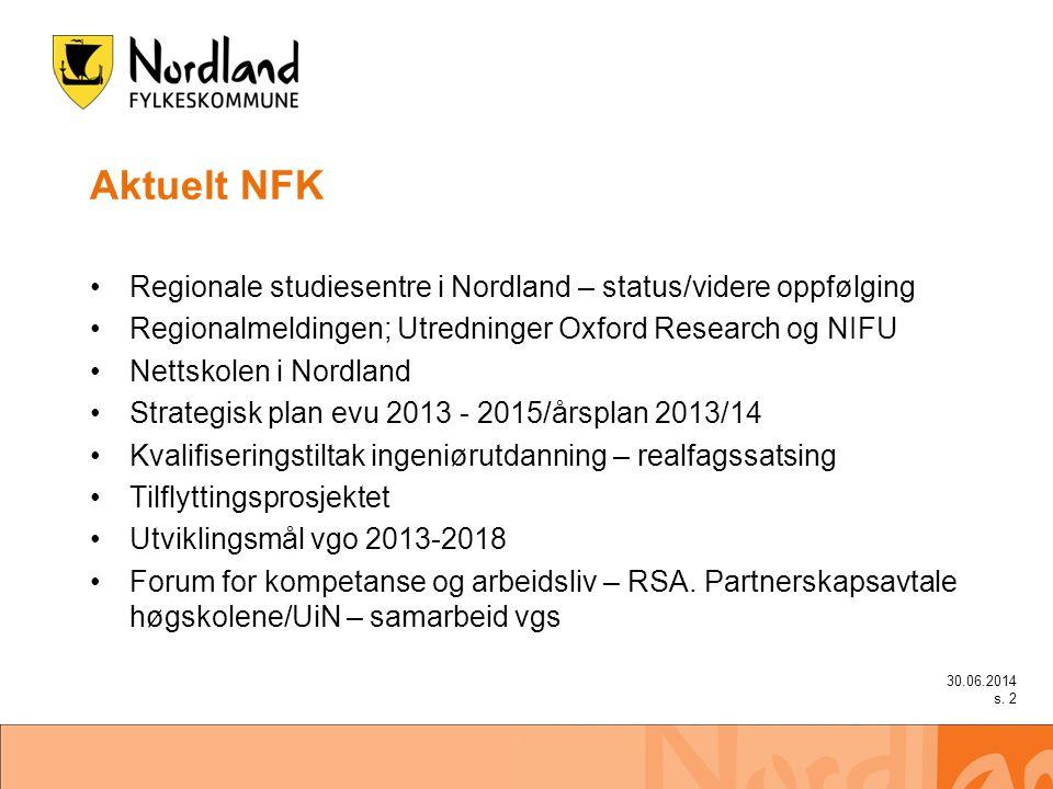 Aktuelt NFK •Regionale studiesentre i Nordland – status/videre oppfølging •Regionalmeldingen; Utredninger Oxford Research og NIFU •Nettskolen i Nordland •Strategisk plan evu 2013 - 2015/årsplan 2013/14 •Kvalifiseringstiltak ingeniørutdanning – realfagssatsing •Tilflyttingsprosjektet •Utviklingsmål vgo 2013-2018 •Forum for kompetanse og arbeidsliv – RSA.