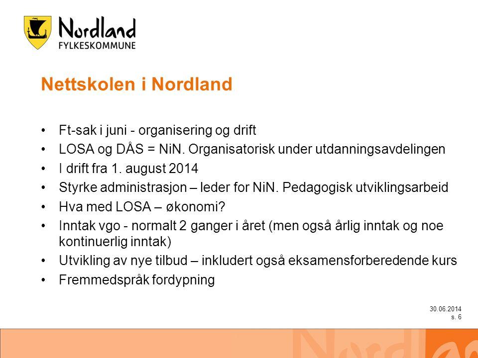 Nettskolen i Nordland •Ft-sak i juni - organisering og drift •LOSA og DÅS = NiN.