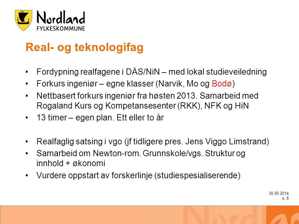 Real- og teknologifag •Fordypning realfagene i DÅS/NiN – med lokal studieveiledning •Forkurs ingeniør – egne klasser (Narvik, Mo og Bodø) •Nettbasert forkurs ingeniør fra høsten 2013.