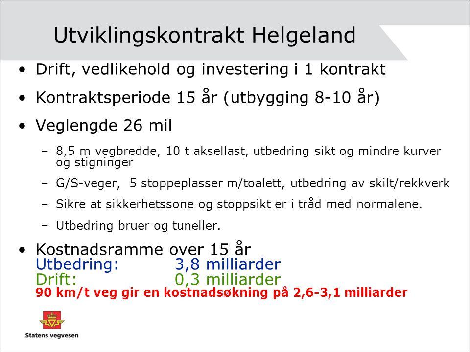Utviklingskontrakt Helgeland •Drift, vedlikehold og investering i 1 kontrakt •Kontraktsperiode 15 år (utbygging 8-10 år) •Veglengde 26 mil –8,5 m vegb