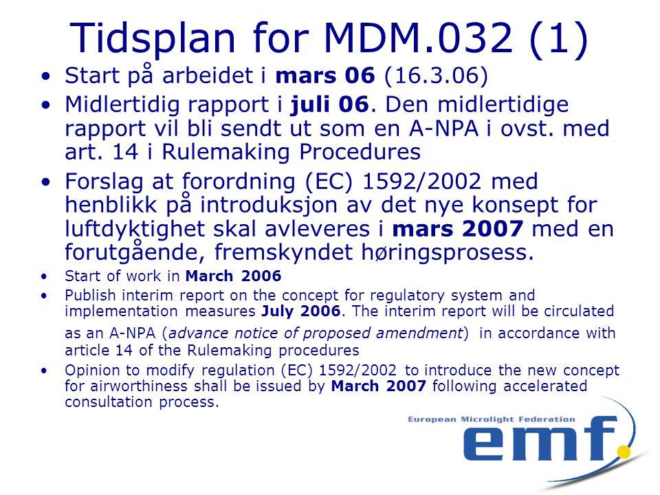 Tidsplan for MDM.032 (1) •Start på arbeidet i mars 06 (16.3.06) •Midlertidig rapport i juli 06. Den midlertidige rapport vil bli sendt ut som en A-NPA