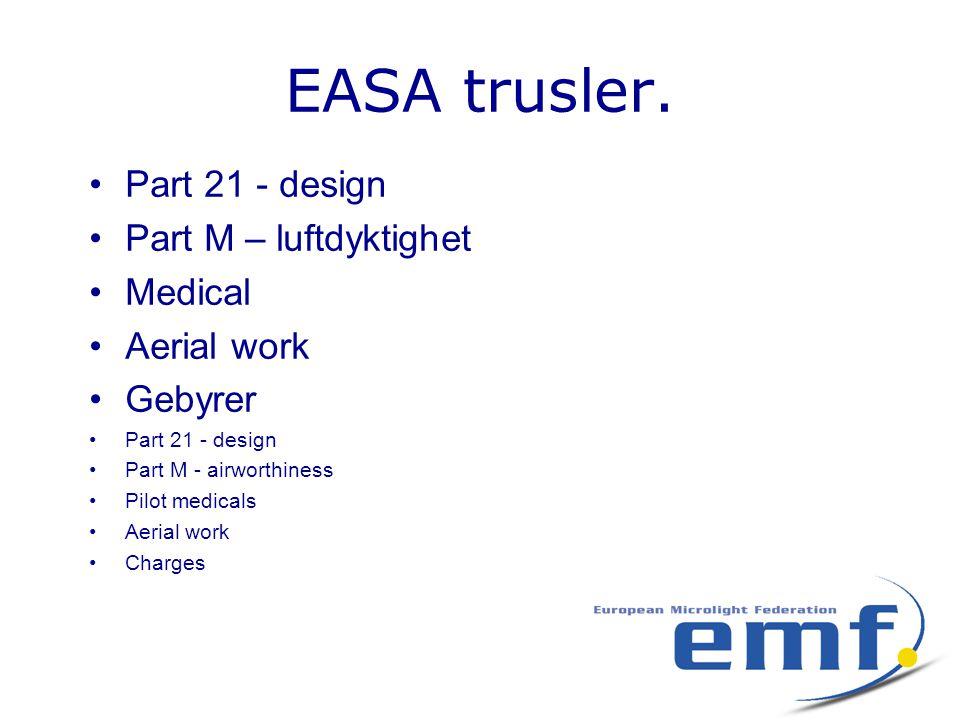 EASA trusler. •Part 21 - design •Part M – luftdyktighet •Medical •Aerial work •Gebyrer •Part 21 - design •Part M - airworthiness •Pilot medicals •Aeri