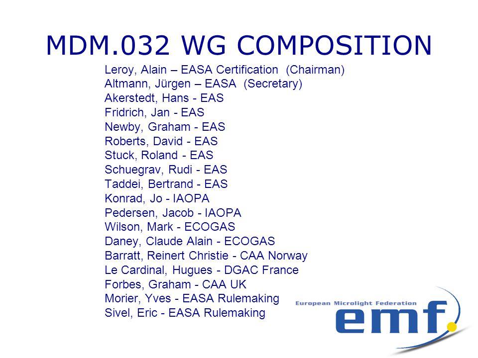 MDM.032 WG COMPOSITION Leroy, Alain – EASA Certification (Chairman) Altmann, Jürgen – EASA (Secretary) Akerstedt, Hans - EAS Fridrich, Jan - EAS Newby