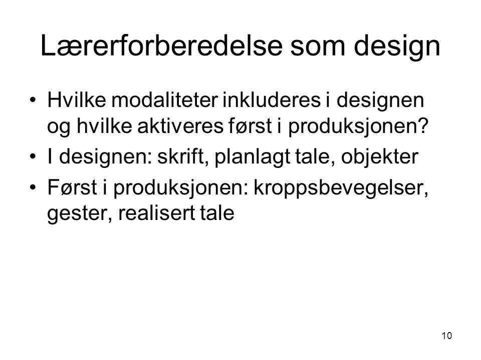 10 Lærerforberedelse som design •Hvilke modaliteter inkluderes i designen og hvilke aktiveres først i produksjonen.