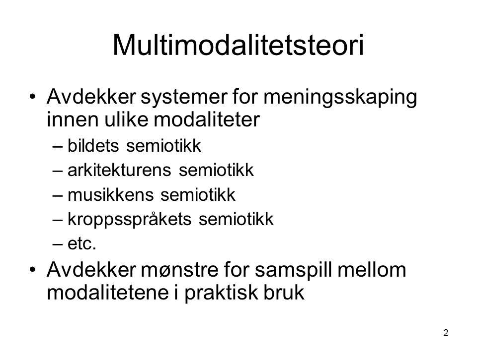 2 Multimodalitetsteori •Avdekker systemer for meningsskaping innen ulike modaliteter –bildets semiotikk –arkitekturens semiotikk –musikkens semiotikk –kroppsspråkets semiotikk –etc.