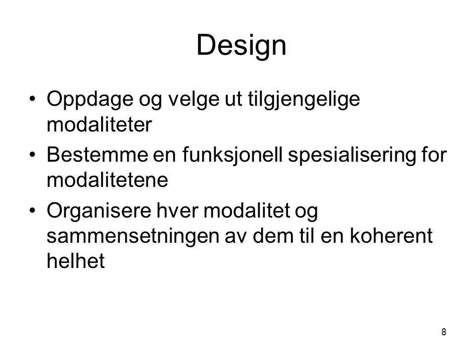 8 Design •Oppdage og velge ut tilgjengelige modaliteter •Bestemme en funksjonell spesialisering for modalitetene •Organisere hver modalitet og sammensetningen av dem til en koherent helhet
