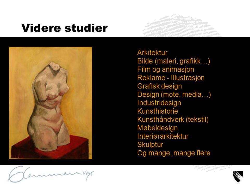 Videre studier Arkitektur Bilde (maleri, grafikk…) Film og animasjon Reklame - Illustrasjon Grafisk design Design (mote, media…) Industridesign Kunsth