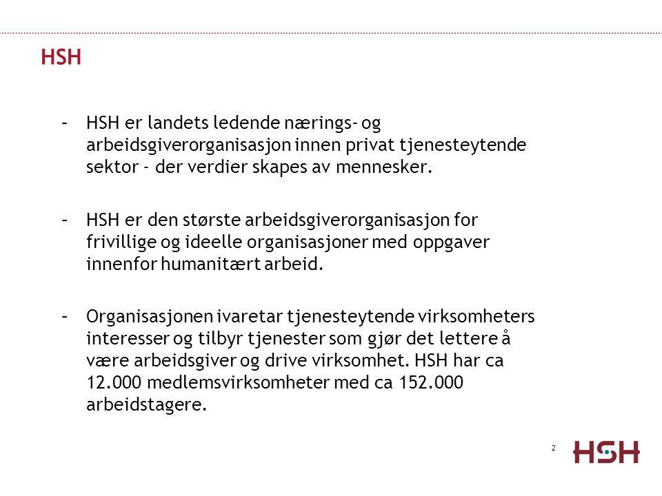 2 HSH –HSH er landets ledende nærings- og arbeidsgiverorganisasjon innen privat tjenesteytende sektor - der verdier skapes av mennesker.