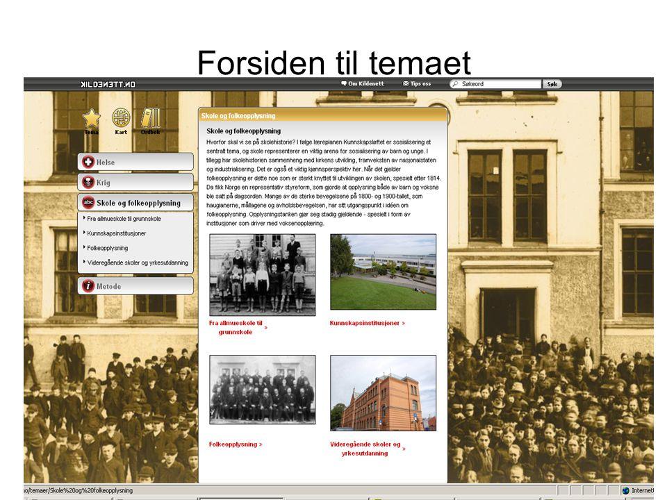 Forsiden til temaet