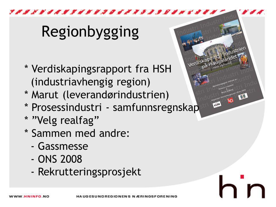 Regionbygging * Verdiskapingsrapport fra HSH (industriavhengig region) * Marut (leverandørindustrien) * Prosessindustri - samfunnsregnskap * Velg realfag * Sammen med andre: - Gassmesse - ONS 2008 - Rekrutteringsprosjekt