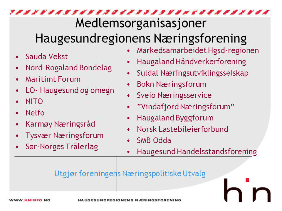Medlemsorganisasjoner Haugesundregionens Næringsforening •Sauda Vekst •Nord-Rogaland Bondelag •Maritimt Forum •LO- Haugesund og omegn •NITO •Nelfo •Ka