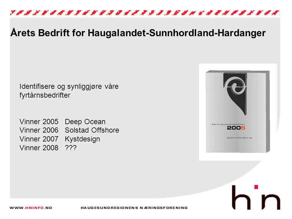 Årets Bedrift for Haugalandet-Sunnhordland-Hardanger Identifisere og synliggjøre våre fyrtårnsbedrifter Vinner 2005 Deep Ocean Vinner 2006 Solstad Off